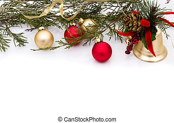 Christmas Ornaments - Red and gold christmas balls on a...