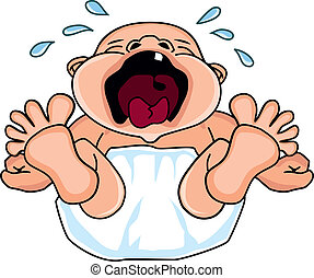 EPS Vector of crying baby - very unhappy baby crying loudly ...