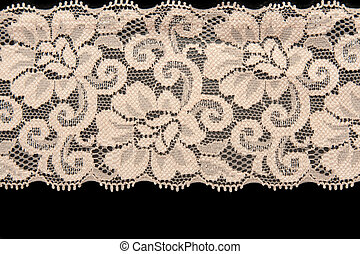 Beige lace with pattern flower on black background