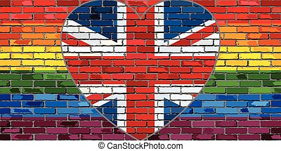 LGBT flag on a brick wall with the Great Britain heart -...