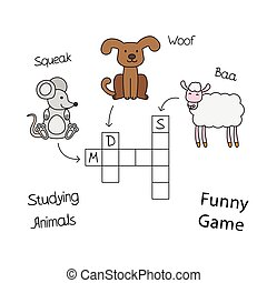 Funny Animals Crossword for Children - Funny animals...