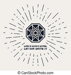 Asian Religious Poster with Buddha Quote - Asian geometric...