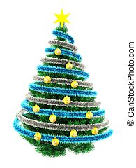 3d tinsel blue - 3d illustration of Christmas tree over...
