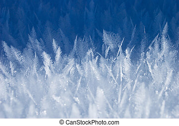Texture of hoarfrost close up. Winter background for design