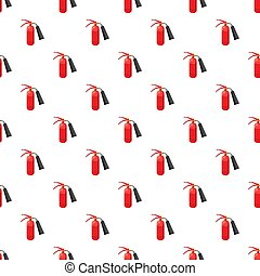 Fire extinguisher pattern seamless repeat in cartoon style...