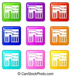 Computer chipset set 9 - Computer chipset icons of 9 color...