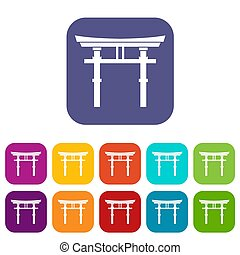 Japanese torii icons set illustration in flat style in...