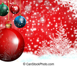 winter scene - snow-falling and christmas baubles