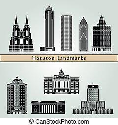 Houston landmarks and monuments isolated on blue background...