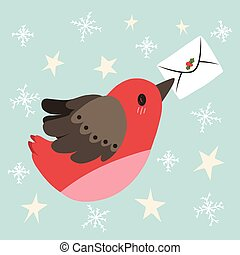 Flying Bird Christmas Letter - Cute illustration of flying...