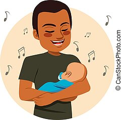 Singing Father - Young happy African American father rocking...