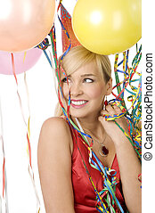 red dressed girl in party with balloons - Pretty blond woman...