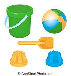 Childrens toys and supplies for games vector illustration -...