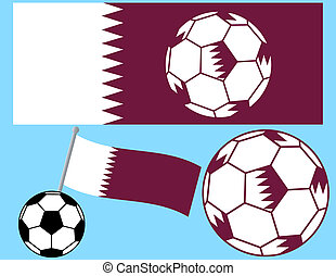 Soccer Football with Flag of Qatar