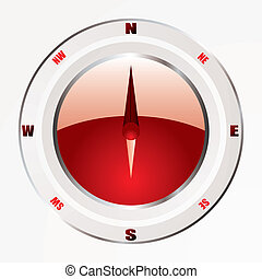 modern red compass - Modern compass icon with red base and...
