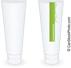 Toothpaste tube - White blank toothpaste tube with green...