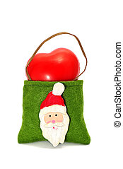 santa bag - a bag with the figure of Santa Claus on a white...