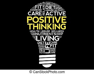 Positive thinking bulb word cloud collage, health concept...
