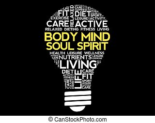 Body Mind Soul Spirit bulb word cloud collage, health...