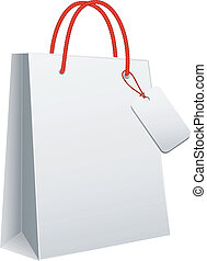 white shopping bag, vector