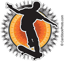 Skateboarder Design - A silhouette of a skateboarder on a...