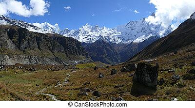 Panorama of Mount Machapuchare, Fishtail mountain - Panorama...