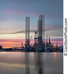 Oil Platform - Drilling rig in the morning
