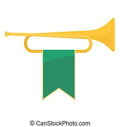 Golden bugle with green ribbon on it vector illustration -...