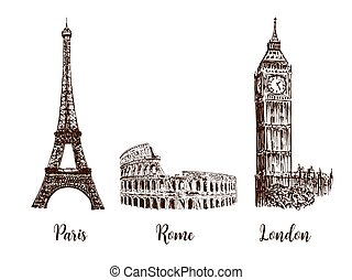 Paris, London Rome. Set of European capitals symbols. Eiffel...