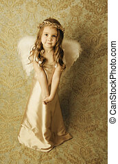 Beautiful angel girl - Beautiful young girl wearing angel...