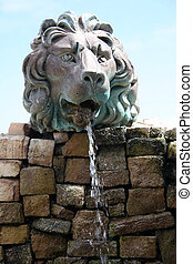 Lion water fountain outdoors.