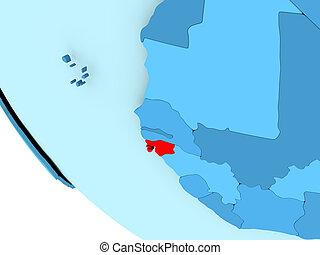 Guinea-Bissau on blue political globe - Guinea-Bissau...