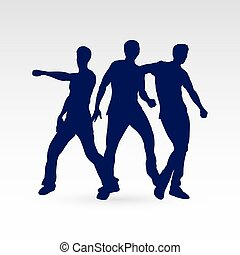 Dancer - Set of Three Silhouette Dancing Males in Different...