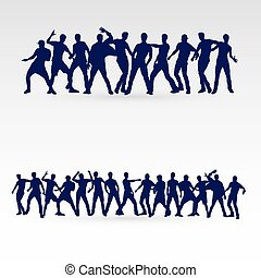 Dancer - Large Set of Silhouette Dancing Males in Different...