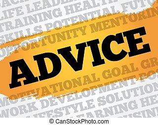 Advice word cloud collage, business concept background