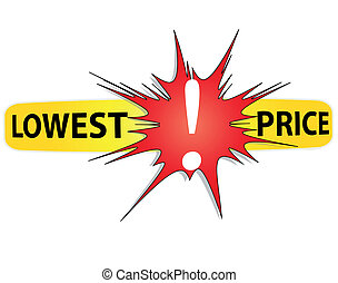 Half Price Sticker. Vector. - Red and yellow icon lowest...