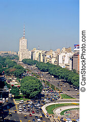 Avenue 9 de Julio in Buenos Aires - Main avenue 9 de Julio...