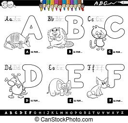educational cartoon alphabet letters for coloring - Black...