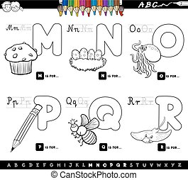 educational cartoon alphabet letters color book - Black and...