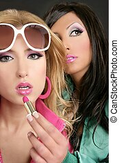 fashion barbie doll style girls pink lipstip makeup white...