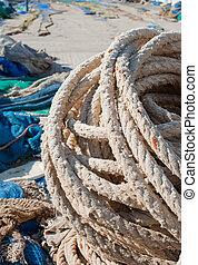 Fishing tackle on the pier of a Mediterranean harbour