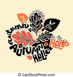 Hello autumn leaves pattern,trendy print in collage cut out,...