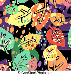 Seamless autumn leaves pattern,trendy print in collage cut...