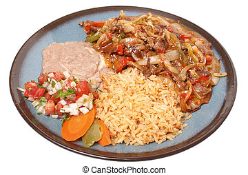Steak fajitas with beans and rice on a white background.