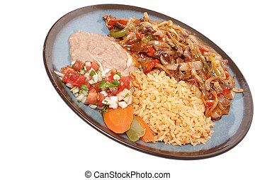 Steak fajitas with beans and rice on a white background