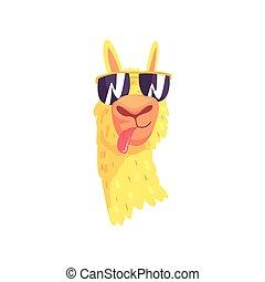 Funny llama character in sunglasses, cute alpaca animal...