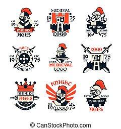 Middle ages logo design set, vintage medieval emblem since...