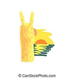 Llama character enjoying ocean sunset, cute alpaca animal...