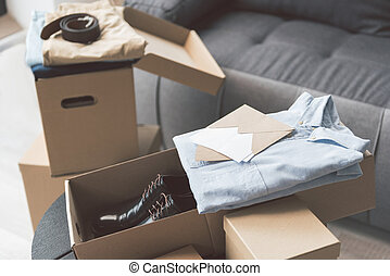 Packages with shirts locating in apartment - Different...