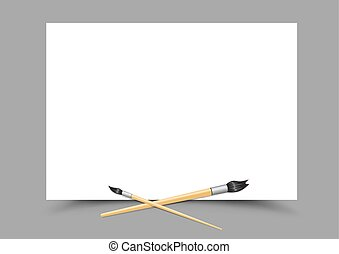 white paper and paint brushes - White paper empty template...